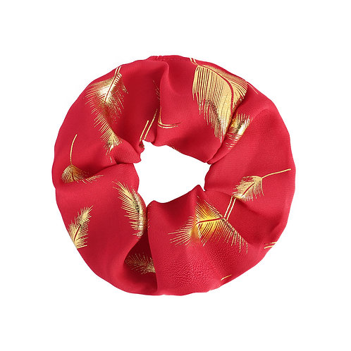 Golden Feather Scrunchie - Rood