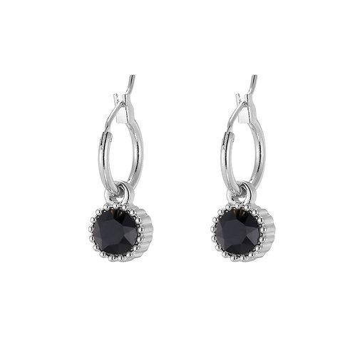 Oorbellen 'Posh Sparkle' - Zilver/Zwart