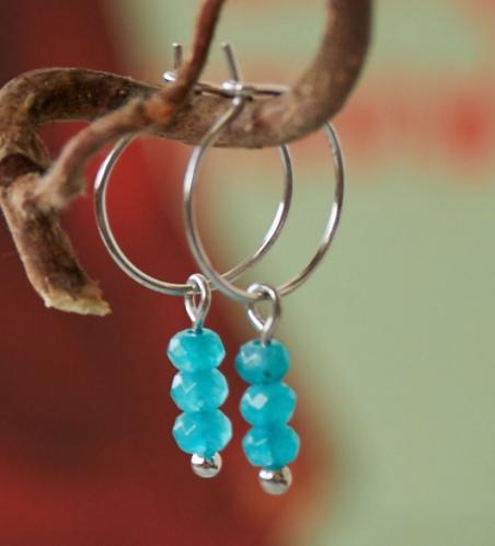 Oorbellen 'Three Stones' - Turquoise