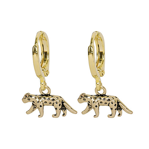 Oorbellen 'Lucky Leopard' - Goud