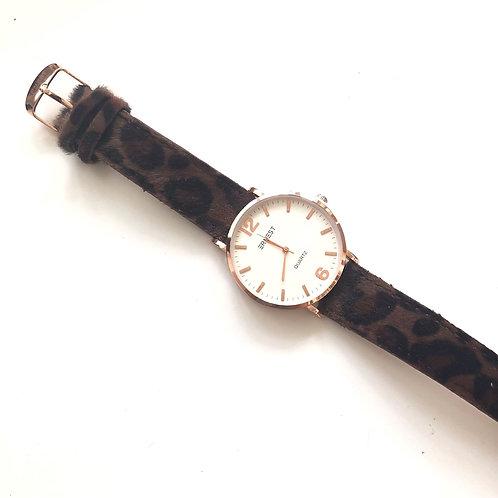 Horloge 'Panter' - Donkerbruin