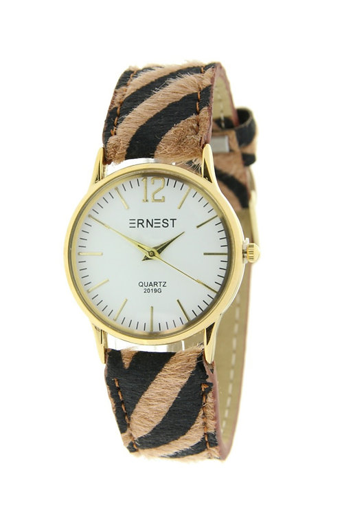 Horloge 'Zebra' - Bruin