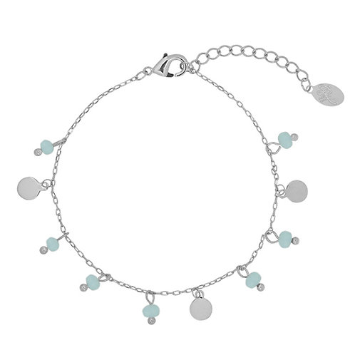 Armband 'Beads and Coins' - Zilver
