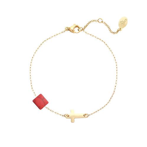 Armband 'Cross my Heart' - Goud