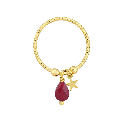 Ring 'Star and Bead' - Rood