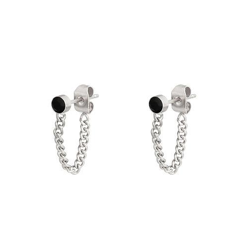 Oorbellen 'Stone and Chain' - Zilver