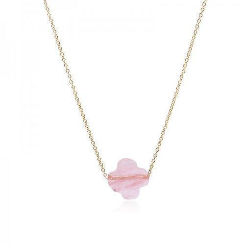 Ketting 'Pink Clover' - Goud