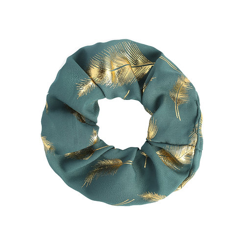 Golden Feather Scrunchie - Turquoise