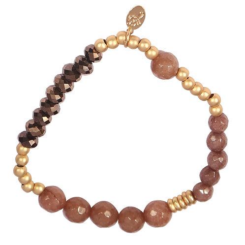 Armband 'Sparkle Beads' - Bruin