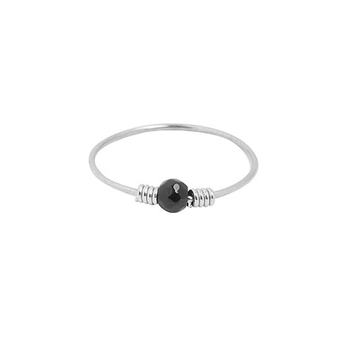 Ring 'Black Stone' - Zilver