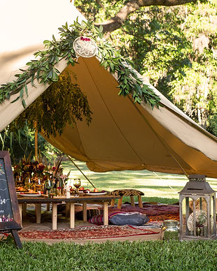 Our 6 meter TIPI bell tents are perfect for entertaining, a meeting space, glamping or to accomodate for your intimate festival wedding.