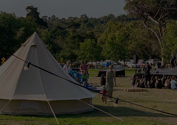 One of our TIPI bell tent's setup on public campground on the Mornington Peninsula to create a very unique glamping experience. Completely styling for your boho / festival feeling.
