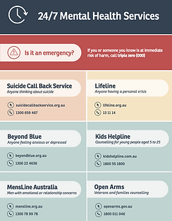 Mental health services and phone number to provide mental health support during another lockdown in Vic, Australia. You will find the phone numbers of the Suicide Call Back Service, Lifeline, Boyond Blue, Kids Helpline, MensLine Australia and Open Arms.