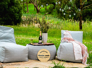 A picnic setup on the mornington peninsula provided by peninsula nomads. The picnic includes lounge chairs, tables, dried flowers, champagne and can be made completely custom to your style; boho, vintage, barn and many more.