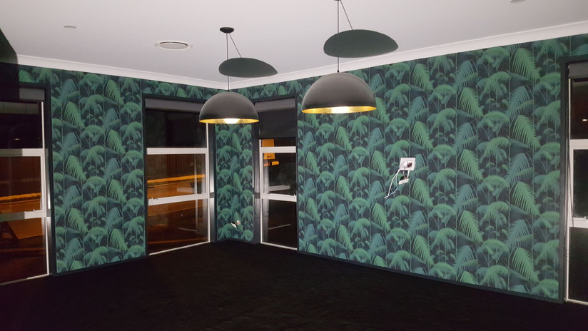 Wallpapered living area