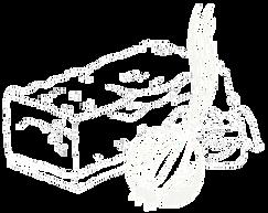Stück Speck mit Zwiebel gezeichnet
