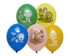 Букет из 10 латексных шаров рисунок Маша и Медведь