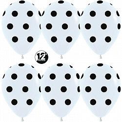 Букет из 10 латексных шаров 30 см. рисунок Черные точки на белом