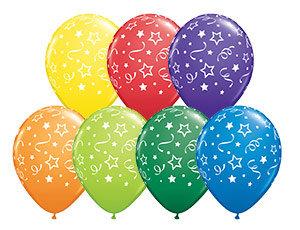 Букет из 10 латексных шаров Звезды серпантин