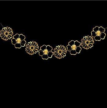 Гирлянда цветы золото перфорация