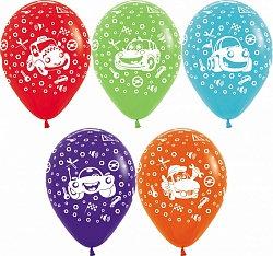 Букет из 10 латексных шаров с рисунком Машинки