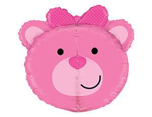 Шар фольгированный Голова медвежонка девочки