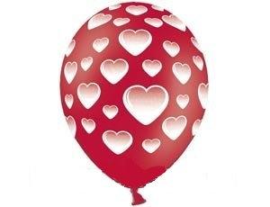 Букет из 10 латексных шаров рисунок Сердца