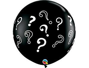 Большой шар 90 см. принт Знаки вопроса цвет черный