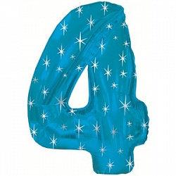 """Цифра фольгированная """"4"""" голубая рисунок звезды"""