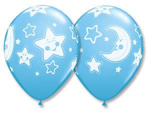 Букет из 10 латексных шаров Месяц Звезды голубой