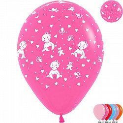 Букет из 10 латексных шаров с рисунком Малышка