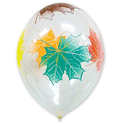 Букет из 10 латексных шаров рисунок Осенние листья