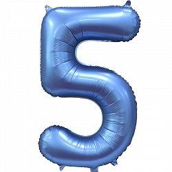 """Цифра фольгированная """"5"""" сатин синий"""