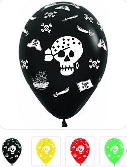 Букет из 10 латексных шаров с рисунком Пираты