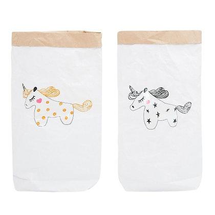 Эко-мешок для игрушек из крафт бумаги Золотой Единорог/Черный Единорог