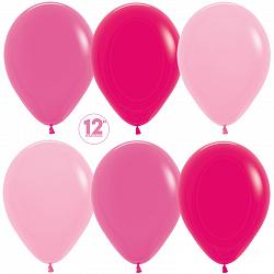10 латексных шаров 30 см., цвет розовое ассорти