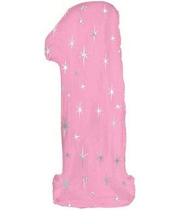 """Цифра фольгированная """"1"""" розовая рисунок звезды"""