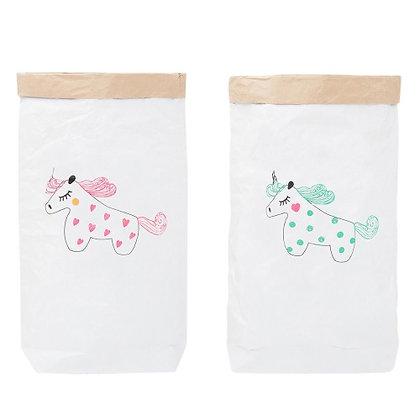 Эко-мешок для игрушек из крафт бумаги Розовый Единорог/Мятный Единор