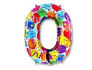 """Цифра фольгированная """"0"""" рисунок шары"""