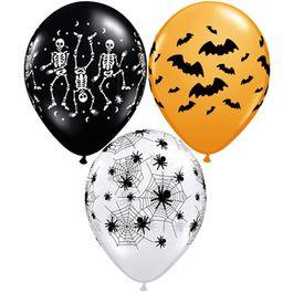 Букет из 10 латексных шаров рисунок Halloween