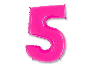 """Цифра фольгированная """"5"""" розовая"""