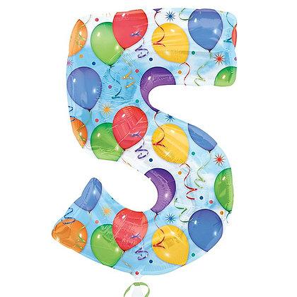 """Цифра фольгированная """"5"""" рисунок шары"""