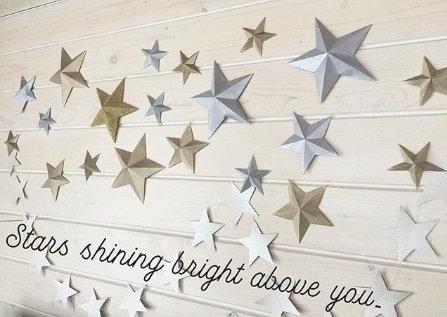 Объемные звезды, сплошная стенка, размер 12 см