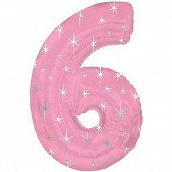 """Цифра фольгированная """"6"""" розовая рисунок звезды"""