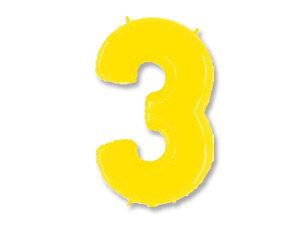 """Цифра фольгированная """"3"""" желтая"""