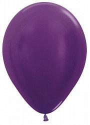 10 латексных шаров 30 см., цвет фиолетовый металл