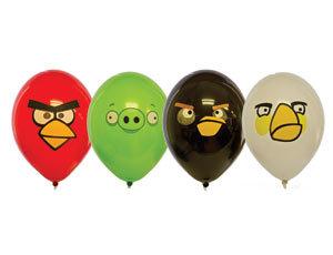Букет из 10 латексных шаров рисунок Angry Birds