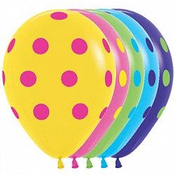 Букет из 10 латексных шаров с рисунком Точки