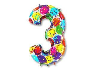 """Цифра фольгированная """"3"""" рисунок шары"""