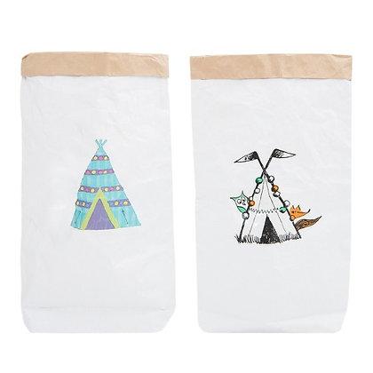 Эко-мешок для игрушек из крафт бумаги Вигвам с животными/Без